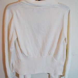 Fever Sweaters - Ivory White Open Front Cardigan Rib Knit Shawl S